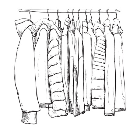 Hand drawn wardrobe sketch. Clothes on the hangers.