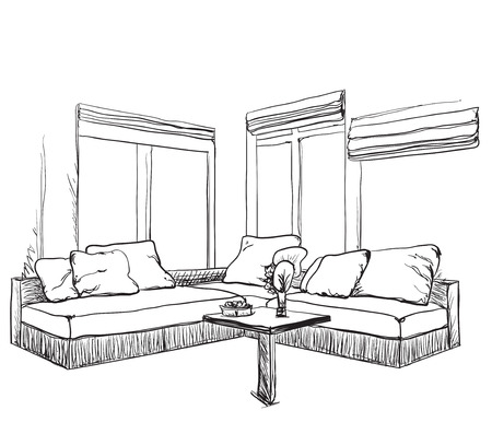 Modern furniture design sketches Study Table Hand Drawn Sketch Of Modern Living Room Interior With Sofa Stock Vector 66959825 Irlydesigncom Hand Drawn Sketch Of Modern Living Room Interior With Sofa Royalty