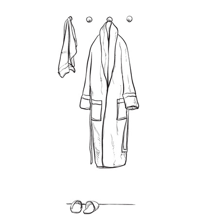 housecoat: Robe for the shower, bathrobe, doodle style, sketch illustration, hand drawn vector