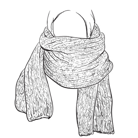 muffler: Woman silhouette in knitted Scarf. Fashion Illustration. Illustration