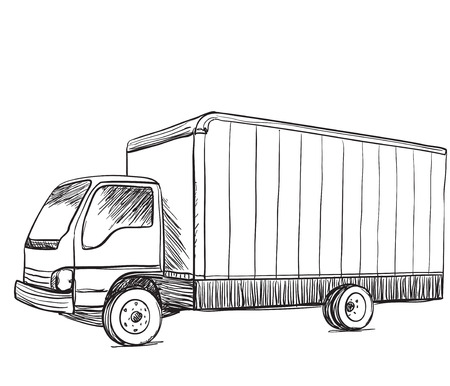 hand truck: Truck sketch. Hand drawn illustration. Delivery poster