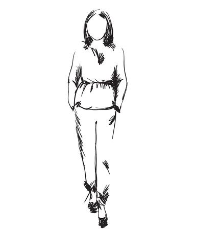 flirt: Fashion model. Sketch. Hand drawn beautiful girl Illustration