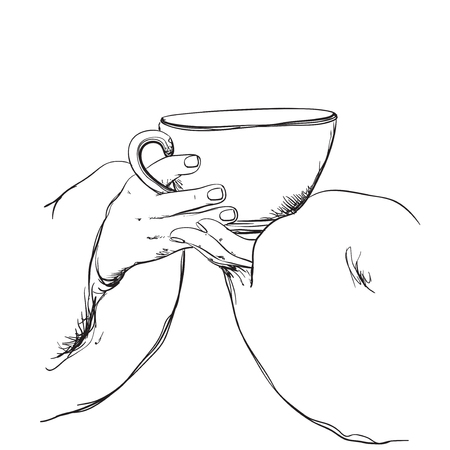 Fashion illustration of girl with cup of tea Illustration