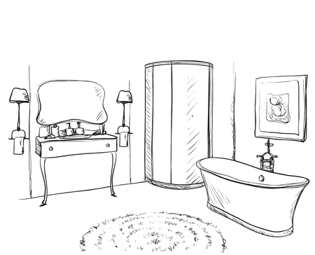 Hand drawn Bathroom. Washin, mirror and other furniture Ilustração