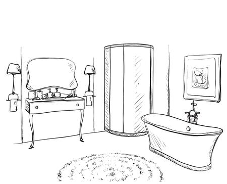 Hand drawn Bathroom. Washin, mirror and other furniture 矢量图像