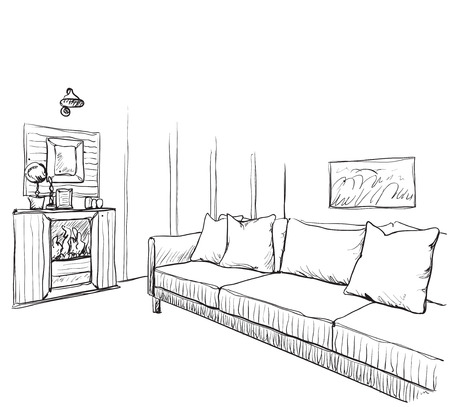 luxury condo: Hand drawn room interior sketch. Sofa and fireplace