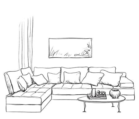 Hand drawn room interior sketch. Sofa and table 矢量图像