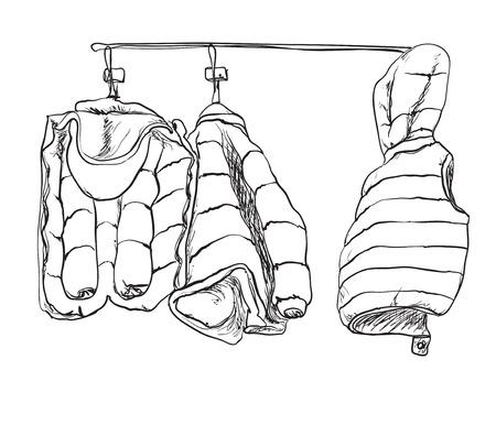 winter jacket: Winter baby jacket sketch. Hand drawn Winter jacket icon.