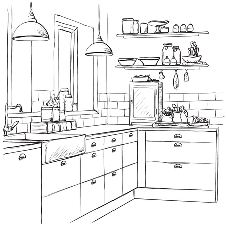 Kitchen interior drawing, vector illustration