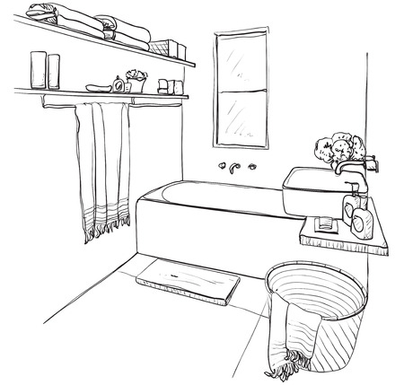 Hand drawn Bathroom. Bath, tap and other furniture