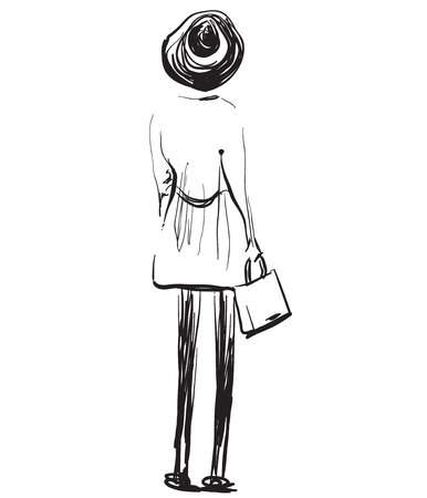 Fashion models sketch. Girl standing backwards