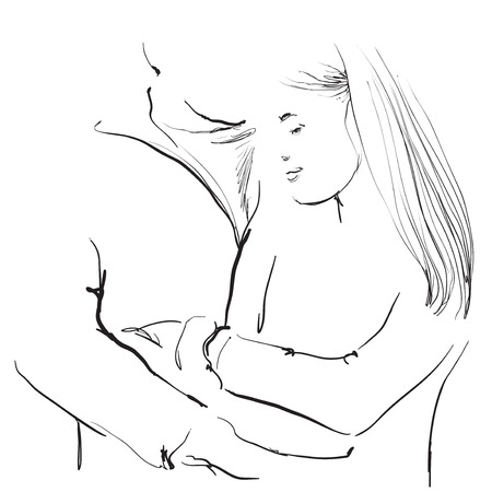 long hair boy: Young couple sketching illustration. Valentine s Day. Love Illustration