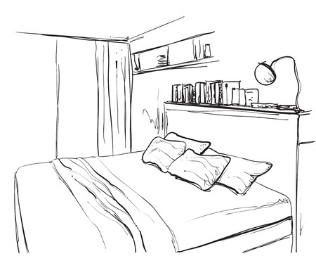 bedroom furniture: Bedroom interior sketch. Hand drawn furniture Illustration