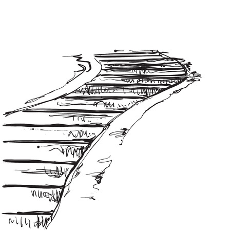 Landscape with staircase, landmark, old road, hand-drawing sketch art, black and white pattern.