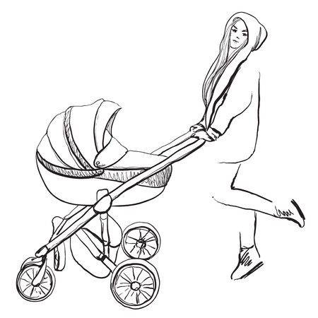 Young woman walking with her newborn child. Illustration