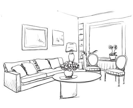 comfortable: Room interior sketch. Hand drawn sofa and furniture.