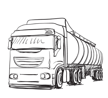 weighted: Sketch logistics and delivery poster. Hand drawn truck illustration
