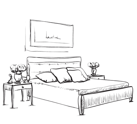 bedroom furniture: Bedroom interior sketch. Hand drawn furniture and bedclothes