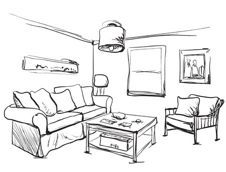 comfortable: Room interior sketch. Table, sofa and other furniture Illustration