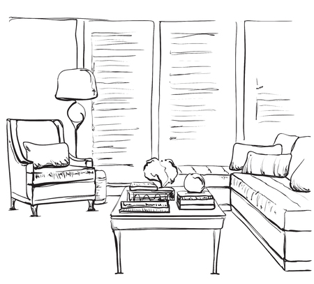 Hand drawn room interior sketch. Chair and window