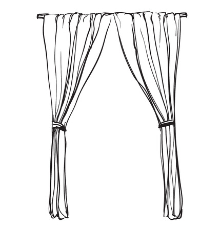 Curtain Draw: Curtains Sketch. Hand Drawn Interior Illustration