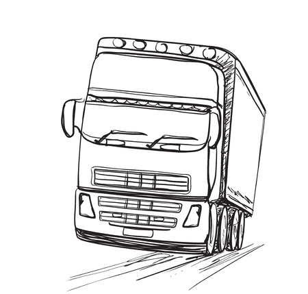 hand truck: Delivery service. Hand drawn truck. Transport. Illustration