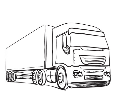 hand truck: Delivery service. Hand drawn truck. International transport