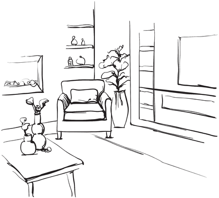 Hand drawn room interior sketch. Chair and sofa