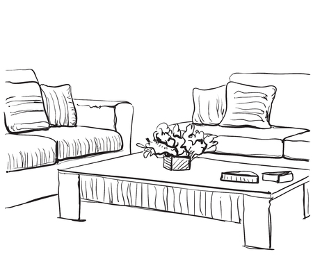 Doodle Hand drawn room interior sketch. Chair and window