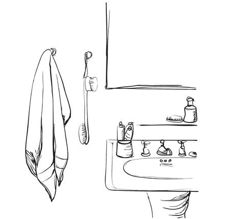 Hand drawn Bathroom Washbasin and mirror sketch element. Vetores