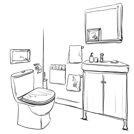 Hand drawn Bathroom. Washbasin and furniture sketch on neat presentation.