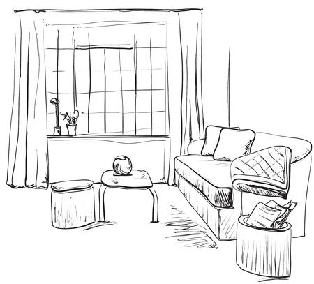 Hand drawn room interior sketch. Furniture  on beautiful presentation.
