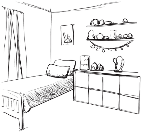 Vector illustration of a child living room. Interior sketch Illusztráció