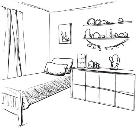 Vector illustration of a child living room. Interior sketch Stock Illustratie