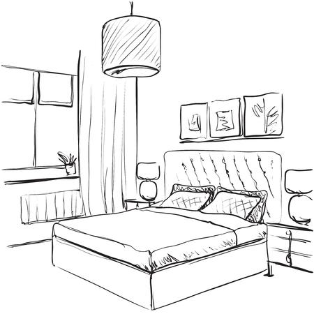 Bedroom Interior Sketch. Hand Drawn Furniture Stock Vector   77663241