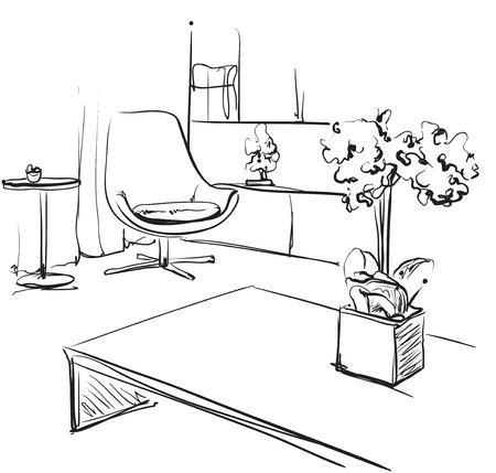 Hand drawn room interior sketch. Furniture