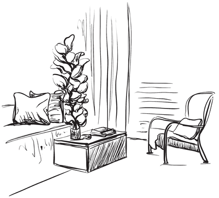 Hand drawn room interior sketch. Chair, sofa and other furniture