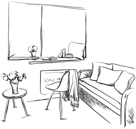 Hand drawn room interior sketch. Furniture