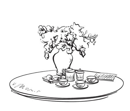 Hand Drawn dinner tea wares. Romantic breakfast