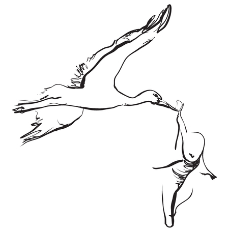 Hand drawn cartoon stork is carrying the child, baby, vector illustration