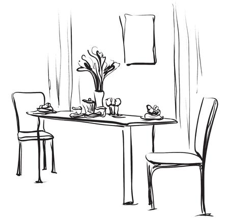 Eettafel met koffie. Hand getrokken schets vectorillustratie.