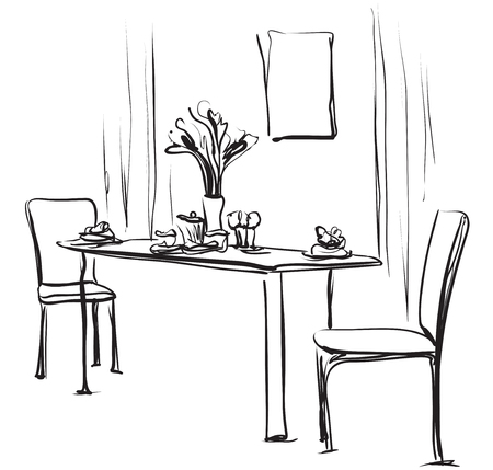 Table à manger avec du café. Illustration vectorielle de croquis dessinés à la main. Banque d'images - 81714520