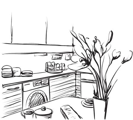 refrigerator: Kitchen interior drawing, vector illustration. Dinner table Illustration