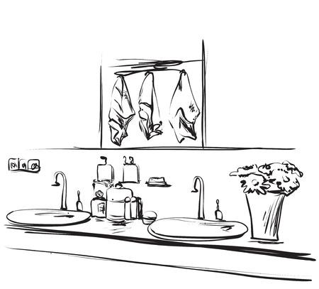 bathroom design: Hand drawn bathroom interior. Mirror, washbasin and tap sketch Illustration
