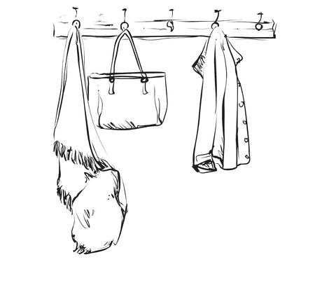 Hand drawn wardrobe sketch with clothes. Interior.