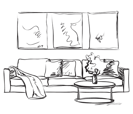 Modern interior room sketch. Hand drawn sofa.