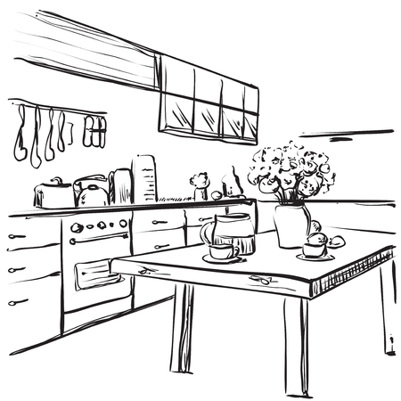 cosy: Kitchen interior drawing, vector illustration