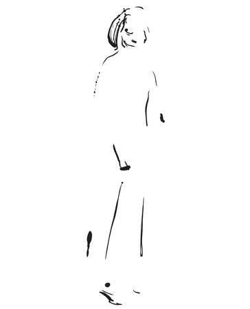 Fashion model sketch. Cartoon girls silhouette Illustration