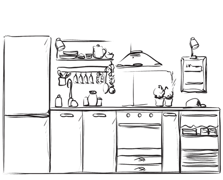 Kitchen Interior Drawing Furniture Sketch Royalty Free Cliparts