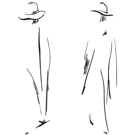 Fashion girls sketch. Illustration